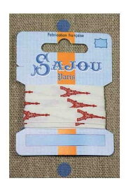 Maison Sajou(サジュー)刺繍リボン1m 【11 MM COTTON RIBBON ECRU BASE RED EIFFEL TOWER MOTIF】 フランス 輸入 RUB_COUT_011_02 【予約】