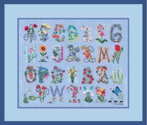 クロスステッチ プチポワン刺繍キット 輸入 ル・ボヌール・デ・ダム Le Bonheur des Dames 刺しゅう Alphabet flower Sampler アルファベットフラワーサンプラー フランス 上級者 1140