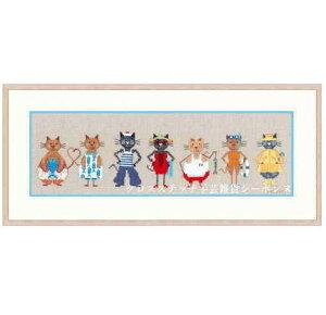 クロスステッチ刺繍キット 輸入 ルボヌールデダム Le Bonheur des Dames 刺しゅう Sea Cats Frize 海の猫 フランス 中級者 1088