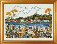 EVAROSENSTANDクロスステッチ刺繍キット【野原から見える水辺の風景】輸入デンマーク北欧上級者14-210