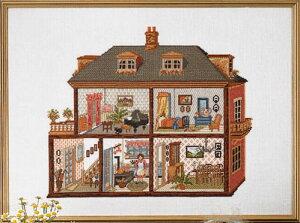 ペルミン PERMIN クロスステッチししゅうキット 輸入 ドールハウス Dollhouse'Mansion' デンマーク 北欧 上級者 70-4149