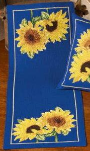 クロスステッチ刺繍キット Sunflowers in blue ヒマワリ/ブルー ペルミン 輸入 Permin デンマーク 75-7827 中級者 上級者 【DM便対応】