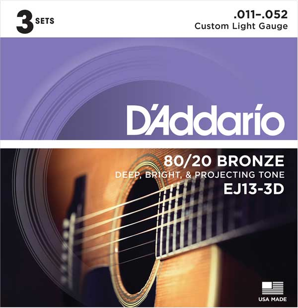 D'Addario 《ダダリオ》 80/20 Bronze Acoustic Guitar Strings 3Set Pack EJ13-3D Custom Light