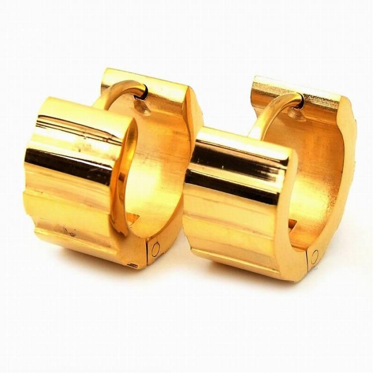 メンズ ブランド SBG ゴールド デント フープ ピアス 8mm 両耳 金 ステンレス アレルギー対応
