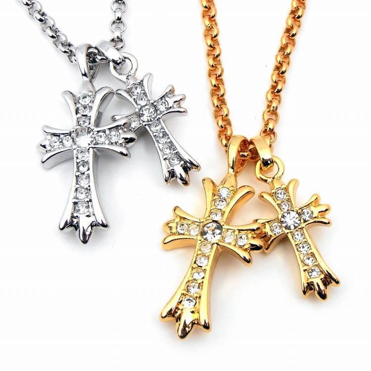 人気 メンズ ブランド SBG ダブル ジルコニア クロス ネックレス ゴールド シルバー 金 銀 十字架 ペンダントトップ