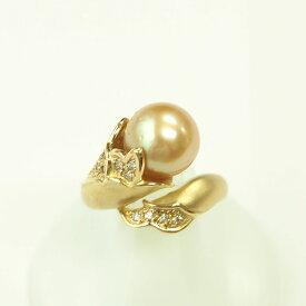【渋谷の質屋 楠本商店】K18YG 真珠 イエローパールダイヤモンドリング 10mm D0.20ct 12号【中古】A《返品可》【質屋出品】【送料無料】