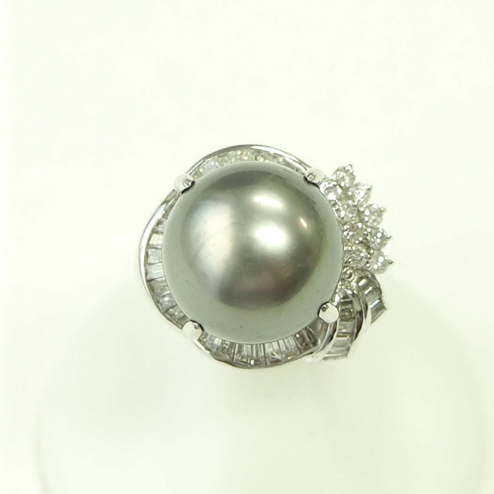 【渋谷の質屋 楠本商店】Pt900 真珠 ブラックパールダイヤモンドリング 13mm D0.87ct 11号【中古】A《返品可》【質屋出品】【送料無料】
