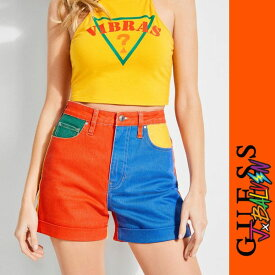 【GUESS x J.BALVIN VIBRAS COLLECTION】GUESS x J BALVIN HIGH-RISE COLOR-BLOCK DENIM SHORTS(WOMENS)【ゲス/ボトムス/パンツ/レディース/トライアングル/J. バルヴィン】W91D26D2IA