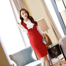 スーツ レディース ビジネススーツ ワンピーススーツ シャツ 2点セット オフィス 女性 フォーマル 大きいサイズ 洗える エレガント ビジ リクルート OL 面接 就職 通勤 20代 30代 40代 50代 赤