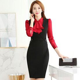 スーツ レディース ビジネススーツ ワンピーススーツ シャツ 2点セット オフィス 女性 フォーマル 大きいサイズ 洗える エレガント ビジ リクルート OL 面接 就職 通勤 20代 30代 40代 50代 ブラック 黒