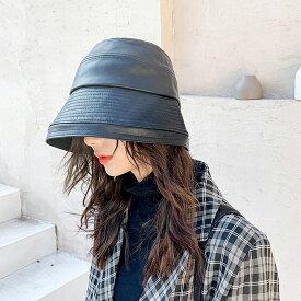 帽子 レディース ハット 防寒 つば広 大きいサイズ 被り心地 おしゃれ 女性 帽子 つば付き 折りたたみ ぼうし 婦人用 ファッション 秋 冬 小顔効果 4色 PUレザー 無地