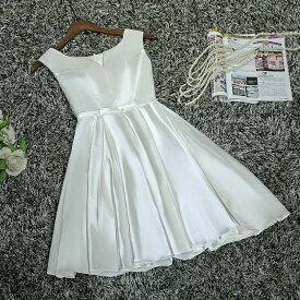 ウエディングドレス 結婚式 ミニドレス 花嫁 ドレス ショートドレス ウェディングドレス 二次会 ブライダル エンパイア パーティードレス カラードレス 大きいサイズ 小きいサイズ 披露宴 発表会 白 サッシュリボン XXS XS S M L XL XXL XXXL