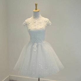 ウエディングドレス 二次会 ミニドレス 結婚式 ショートドレス ウェディングドレス ブライダル 花嫁 ドレス エンパイア カラードレス パーティードレス 大きいサイズ 小きいサイズ 披露宴 発表会 白 XXS XS S M L XL XXL XXXL