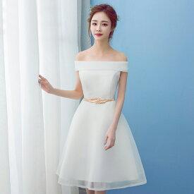 ウエディングドレス 二次会 ミニドレス 結婚式 ショートドレス ウェディングドレス ブライダル 花嫁 ドレス エンパイア カラードレス パーティードレス 大きいサイズ 小きいサイズ 披露宴 発表会 白 サッシュベルト XXS XS S M L XL XXL XXXL