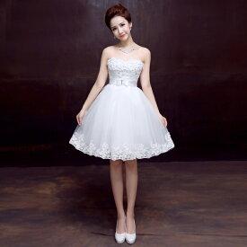ウエディングドレス 二次会 ミニドレス ショートドレス ウェディングドレス 結婚式 ブライダル 花嫁 ドレス エンパイア カラードレス パーティードレス 大きいサイズ 小きいサイズ 披露宴 発表会 白 XXS XS S M L XL XXL XXXL