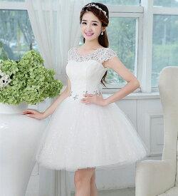 ウエディングドレス 二次会 ミニドレス 花嫁 ドレス ブライダル ショートドレス ウェディングドレス 結婚式 エンパイア パーティードレス カラードレス 大きいサイズ 小きいサイズ 披露宴 発表会 白 XXS XS S M L XL XXL XXXL