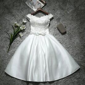 ウエディングドレス 二次会 ミニドレス 花嫁 ドレス ブライダル ショートドレス ウェディングドレス 結婚式 エンパイア カラードレス パーティードレス 大きいサイズ 小きいサイズ 披露宴 発表会 白 サッシュリボン XXS XS S M L XL XXL XXXL