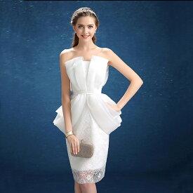 ウエディングドレス 二次会 ミニドレス 花嫁 ドレス ショートドレス ブライダル ウェディングドレス 結婚式 エンパイア カラードレス パーティードレス 大きいサイズ 小きいサイズ 披露宴 発表会 白 XXS XS S M L XL XXL XXXL