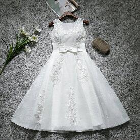 ウェディングドレス 二次会 ミニドレス 花嫁 ドレス ブライダル ショートドレス ウエディングドレス 結婚式 エンパイア カラードレス パーティードレス 大きいサイズ 小きいサイズ 披露宴 発表会 白 サッシュリボン XXS XS S M L XL XXL XXXL