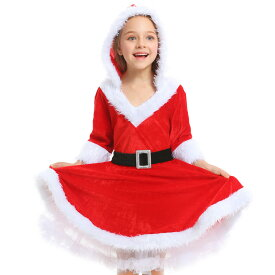 クリスマス衣装 サンタコスプレ フード付き 子供服 女の子 サンタクロース コスチューム 仮装 演出服 ルームウェア 冬用 コスプレ パーティー 親子