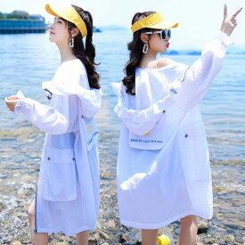 UVカット ラッシュガード レディース 紫外線対策 UPF50+ 長袖 薄手 フード付き ジップアップ パーカー 涼しい 女性用 体型カバー 日焼け防止 日よけパーカー 冷房対策 アウトドア 全4色 送料無料