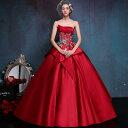 演奏会用カラードレス ウエディングドレス ロングドレス パーティードレス ウェディングドレス 二次会 コンサート プリンセスライン エンパイア ステージ衣装 大きいサイズ/小きいサイズ 赤