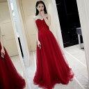 カラードレス 赤 パーティードレス 演奏会 イブニングドレス ロングドレス 結婚式 フォーマルドレス 花嫁 ロング 二次…
