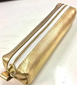 本革 金色 ペンケース ゴールド 筆記用具 開運アイテム 開運グッズ 金運アイテム 金運グッズ 送料無料 ペン 文具 小物入れ ペン入れ 筆箱 ふでばこ