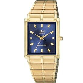 シチズン Q&Q 腕時計 アナログ クラシック 日常生活防水 ブレスレット ネイビー ゴールド QA80-002 メンズウォッチ【メール便250円対応】