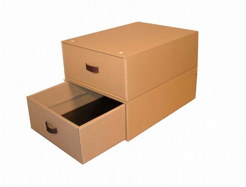 クローゼット用収納ボックス2個組(奥行き53cm×幅39cm×高さ18cm)スチール枠・インデックスシール付