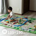 【特別送料無料】トミカ・プラレール好きな子供喜ぶラグ ロードマップ 2 【中】約133×190cm【約1畳半】キッズラグ 道…