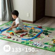 トミカ・プラレールが大好きな子供が喜ぶ!キッズラグ道路柄ラグロードマップ2【小】約110×133cm【約1畳】【長方形】床暖房・ホットカーペット対応ラグ
