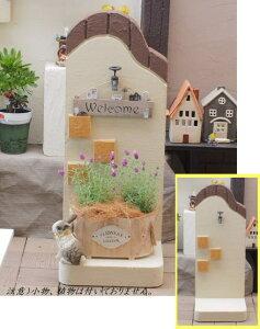 【飾って楽しむ・お庭のオブジェ】手作り塀・シャビー塀・アンティーク蛇口軽量置物ガーデングッズ