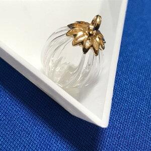 【2/24再入荷】かぼちゃのガラス玉小瓶/フラワーヒートン/ガラス小瓶/14mm/蓋付き/パンプキン/メロン/ピンクゴールド