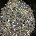 シャボン玉カラーのガラス玉 オーロラ ネイル レジン 封入 サイズmix AB ガラス粒 約7...