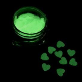 ハートのホログラムH 蓄光 暗闇で光る 6mm ライトグリーン レジン封入 パーツ ハンドメイド
