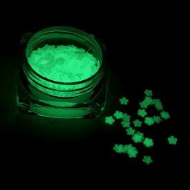 フラワーのホログラムC 蓄光 暗闇で光る ライトグリーン レジン封入 パーツ ハンドメイド