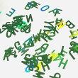 アルファベットのホログラムN5mmグリーンオーロラ緑レジン封入英字ハンドメイド