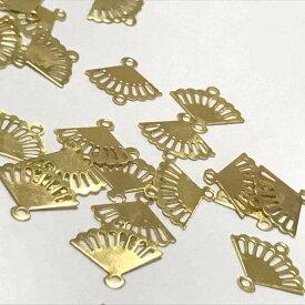 【7個セット】扇のコネクター/ブラスチャーム/扇子/透かし風/和風/パーツ/真鍮/ハンドメイド