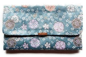 日本製 金封 ふくさ 数珠入れ 兼用袋 慶弔両用 祝儀袋 袱紗 21×12cm 金襴シリーズ 青 送料無料