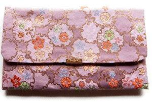 日本製 金封 ふくさ 数珠入れ 兼用袋 慶弔両用 祝儀袋 袱紗 21×12cm 金襴シリーズ 紫 送料無料