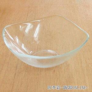そうめん 器 ガラス 19cm鉢 オアシスガラスボウル スクエアボウル ガラス食器 硝子 ガラス器 麺鉢 そば鉢 サラダボウル トルコ製 業務用