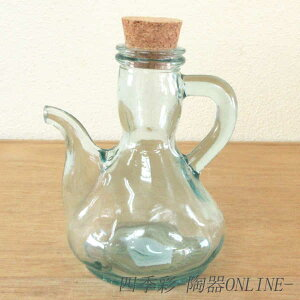 オイルボトル リサイクルガラス 250cc コルク栓ガラス食器 オイルポット ドレッシングボトル 調味料ボトル オイル差し おしゃれ オイルボトル