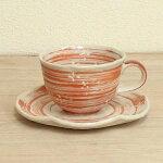 コーヒーカップソーサー赤花ちらし和陶器美濃焼カフェ食器業務用
