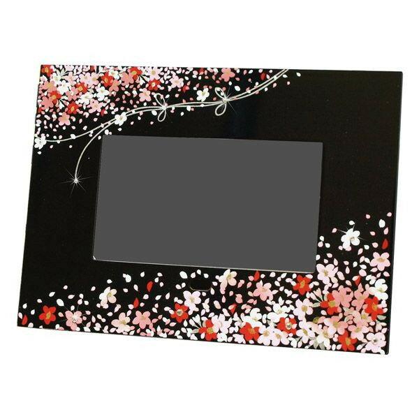 【名入れ・送料無料】 贈る漆器のデジタルフォトフレーム蒔絵 花束(黒)和風 和柄 父の日 母の日 敬老の日 日本土産 出産祝 新築祝 記念品 写真 内祝 ギフト プレゼント お祝い 誕生日 写真立て