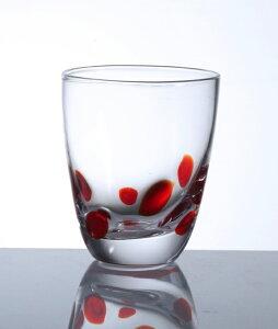 【食洗機対応】 ロックグラス ドット 赤 おしゃれ オシャレ カップ コップ グラス ウィスキー 酒 バレンタイン 父の日 敬老の日 かわいい 【QD40】
