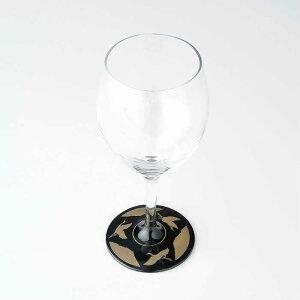【ガラス×漆器】 ぬりもん de Verra ワイングラス 蒔絵 万葉鶴 黒 父の日 敬老の日 グラス コップ 結婚式 引出物 引き出物 ギフト プレゼント