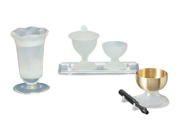 ◆ 創価学会 仏具 ガラス製 すずらん 5点セット