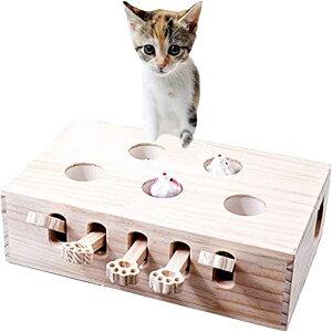pearpark 猫 おもちゃ 猫じゃらし 木製 モグラ叩き ネコ ねこのおもちゃ 厳選木材使用 安全素材 木箱 ねこじゃらし ペット マウス ネ
