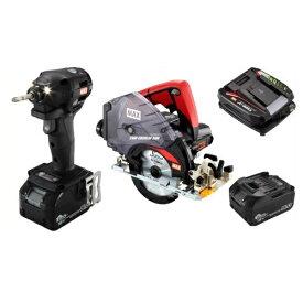 マックス 18V充電工具コンボセット 充電式インパクトドライバ(黒)[PJ-ID152K-B2C/1850A]&充電式防じんマルノコ[PJ-CS53CDP]
